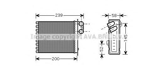Радиатор отопителя DACIA; RENAULT; ВАЗ (пр-во AVA)