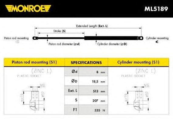 ML5189 MONROE амортизатор крышки багажника, цена 328 грн. - Купить в Интернет магазине DEMEX.ua