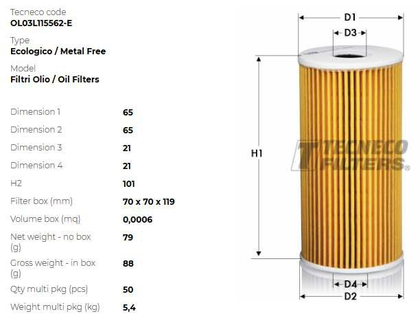 TECNECO VW Фильтр масляный вставка AUDI A3/A4/A6/Q5Golf IV, T5 SEAT, S