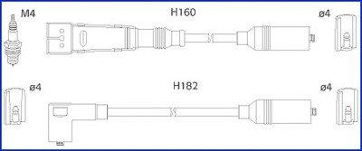 HITACHI VW К-кт высоковольтных проводов Audi 100,A6 2.0 90- HITACHI 13