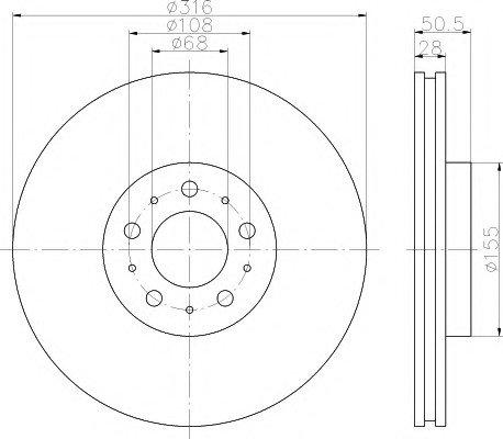 MINTEX Диск торм. пер. Volvo XC 90 02- (316*28)