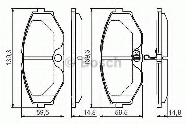 Гальмівні колодки дискові Nissan Maxima QX CA33  F Bosch 0986495147