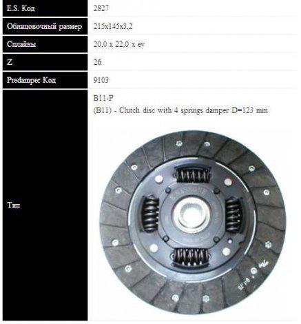 SASSONE RENAULT Диск сцепления MEGANE 1.4 95- (215мм, 4 пружины)